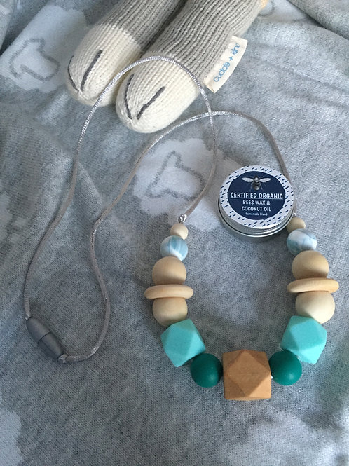 Jade Wooden Teething Necklace and Balm Combo