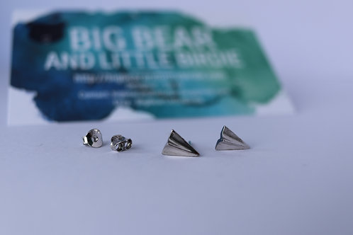 Sterling Silver Paper Plane Studs