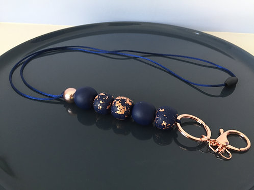 Navy Rose Gold Specks Lanyard