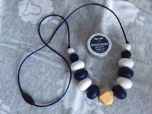 Navy White Donut Teething Necklace and Balm Combo