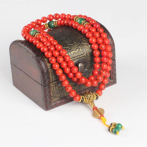 Sennier 108 Red Coral  Bracelet Natural Stone Beads Mala Necklace