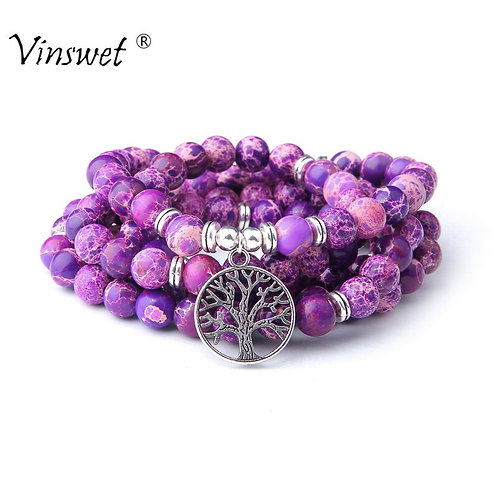 108 Mala Necklace Natural Stone Purple Imperial Jaspers Beads With Lotus