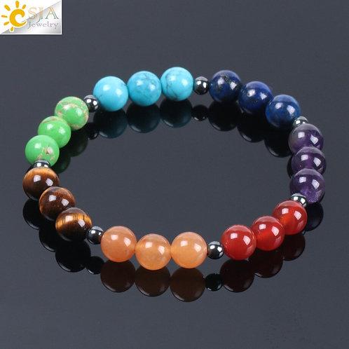CSJA 2018 Rainbow 7 Chakra Natural Gem Stone Charm Bracelets for Women Men