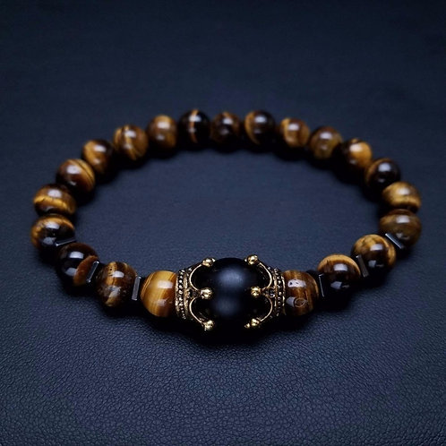 Charm Bracelet for Men Crown High Quality Tiger Eye Stone Bead Bracelet