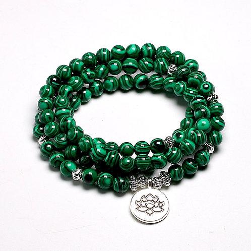 Tibetan 108 Mala Bracelet Malachite Stone