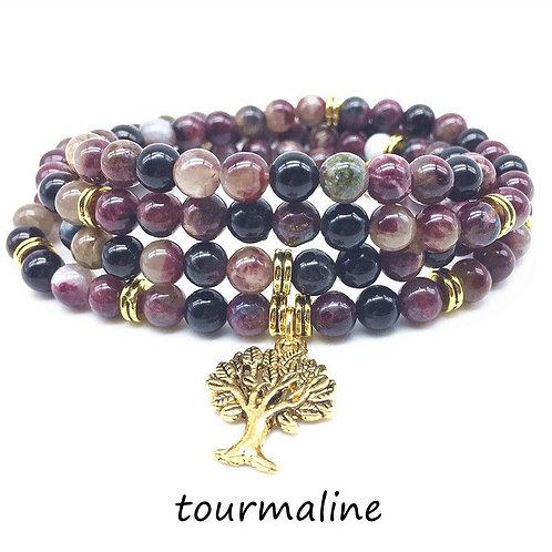 Fashion Mala Bracelets Women Necklace 100% Natural Tourmaline Stone