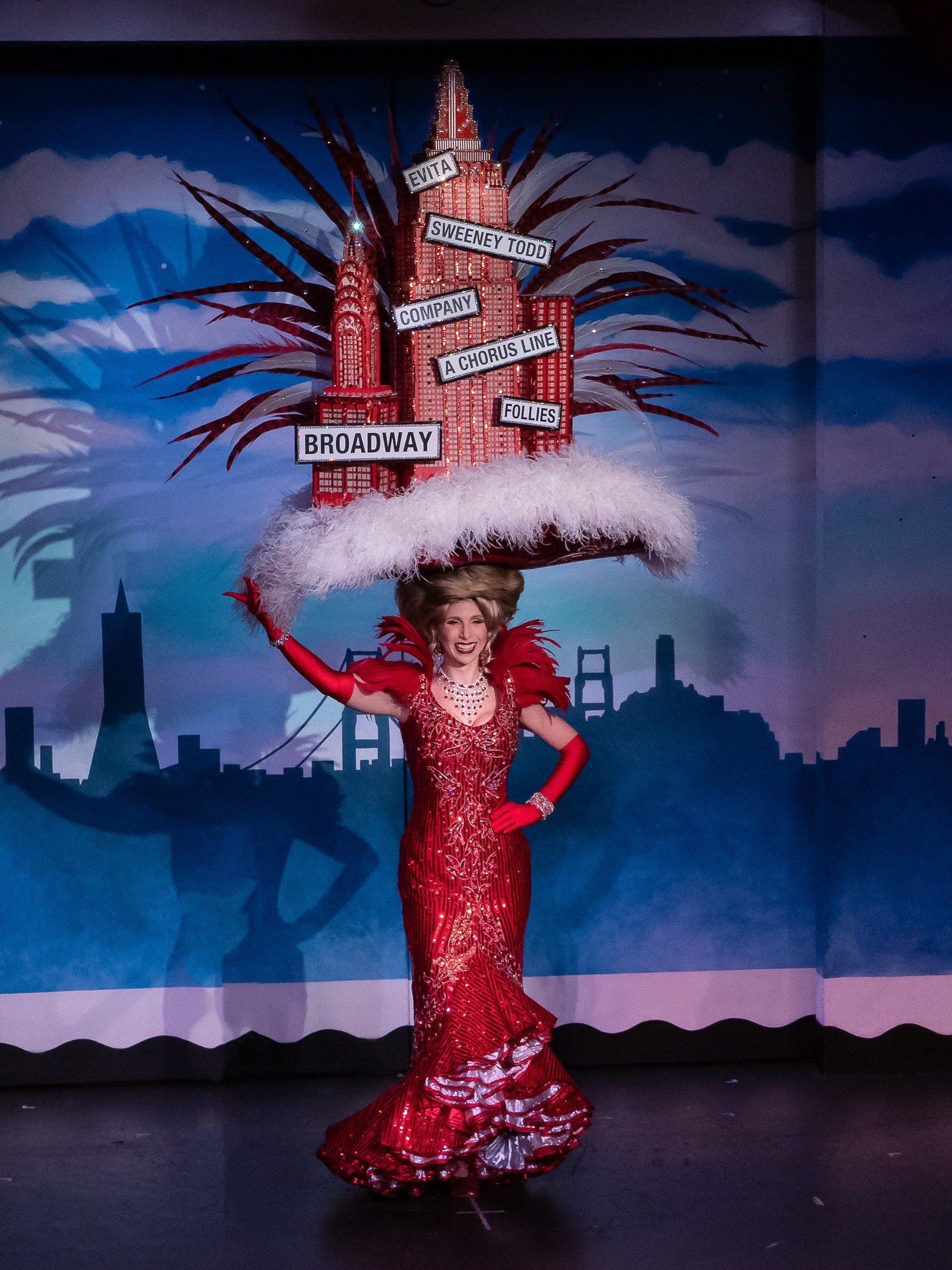 Closing Performance of Beach Blanket Babylon wearing a Steve Silver Original Hat.