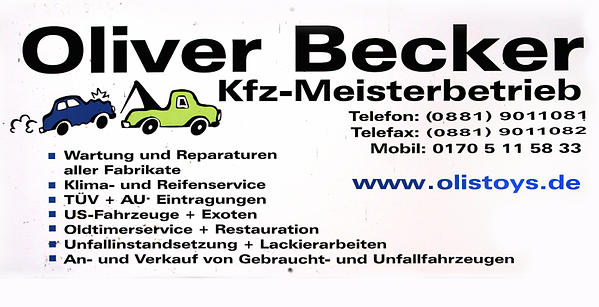 Oliver Becker, Visitenkarte, Kfz Meister Betrieb Weilheim, Kfz Reparatur, Oldtimer Ankauf Weilheim