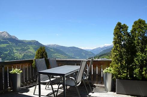 Aussicht, Berge, Panorama, Balkon, Terrasse, Sonnenuntergang, Abendstimmung
