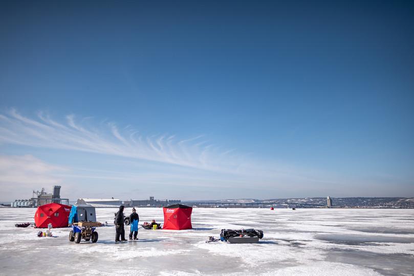 Ice Fishing on the Duluth Harbor Basin