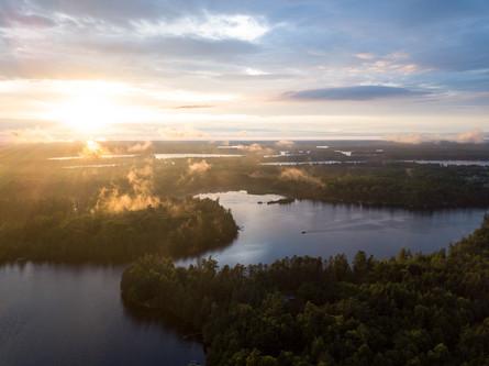 Dog and Deer Lakes, Three Lakes Aerial