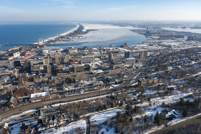 The Lift Bridge, Downtown Duluth and Lake Superior in Winter