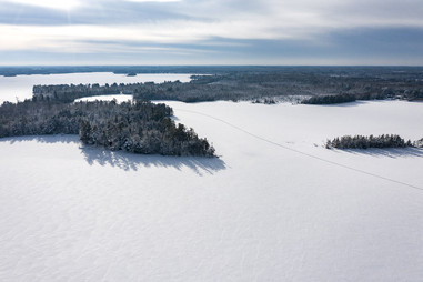 Dog Lake and the Three Lakes Chain in Winter Aerial