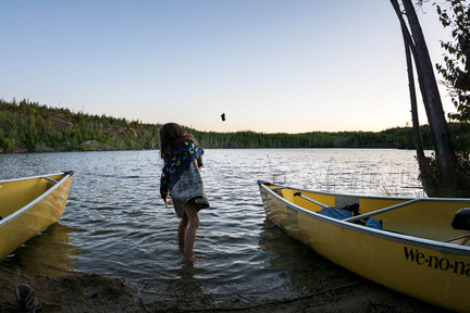 Private Beach and Rock Throwing in the Boundary Waters for Voyageur Canoe