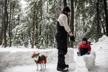 Building a Snow Fort in Wisconsin's Northwoods