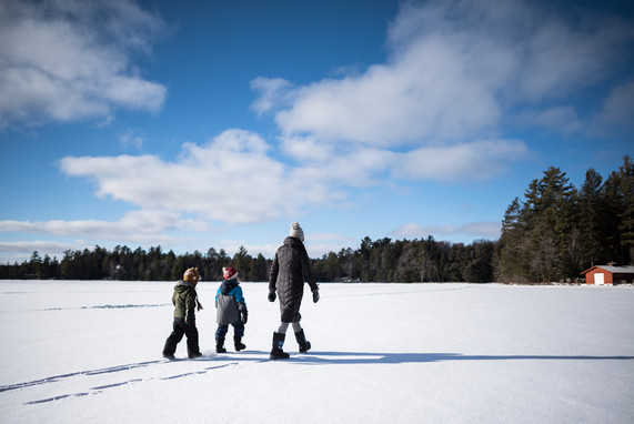 Crossing a Frozen Three Lakes Chain of Lakes