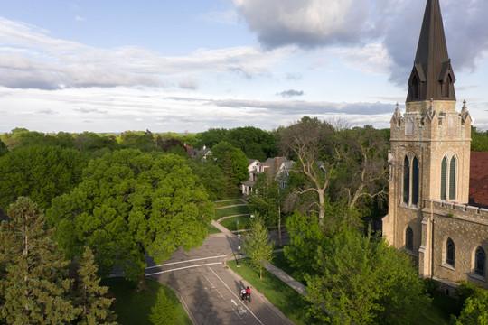 Summit Avenue Bikers Aerial Drone