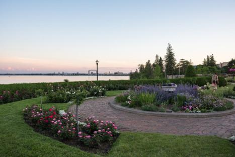 Duluth Rose Garden and Lift Bridge at Sunset