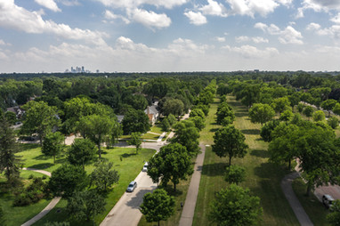 Victory Memorial Parkway and Minneapolis Skyline Aerial