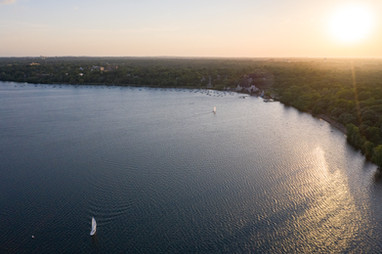 Lake Harriet Sailboat at Sunset Drone Aerial