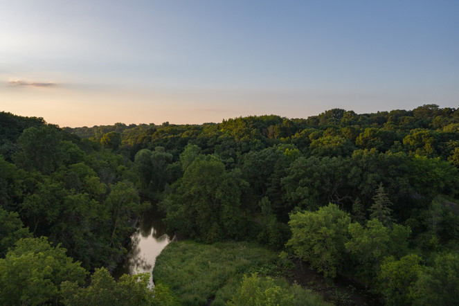 Bassets Creek in Theo Wirth Park Aerial