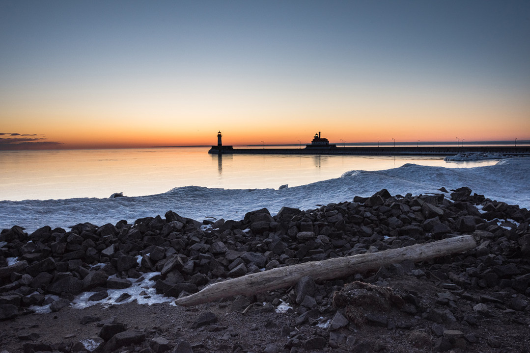 Duluth Lighthouse in Winter