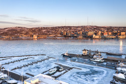 Duluth Skyline and Park Point Marina in Winter - Visit Duluth Aerial