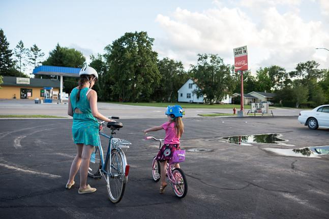 Biking to Earl's Drive In Roseau, Minnesota