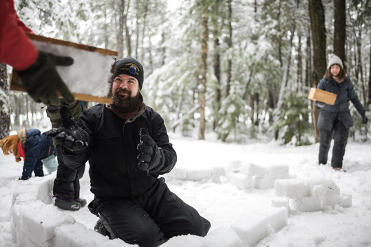 Snow Fort Building in the Northwoods