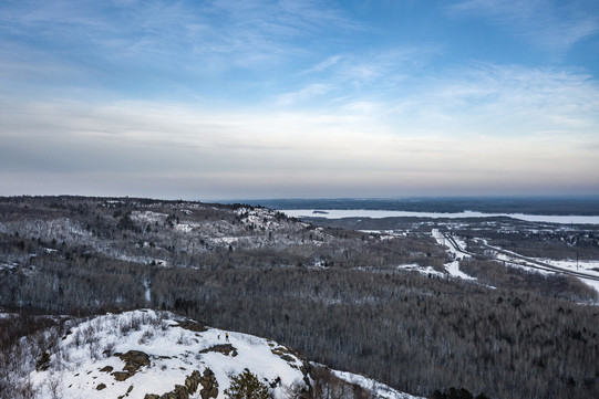 Snowy Ely's Peak and Duluth to the North