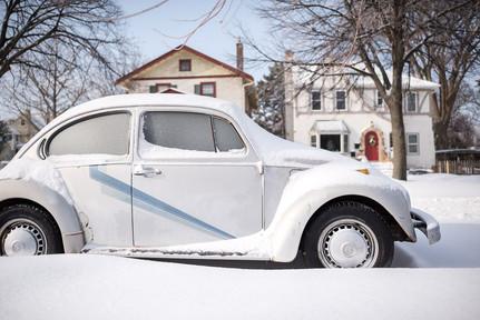 VW Bug in Minnesota Winter