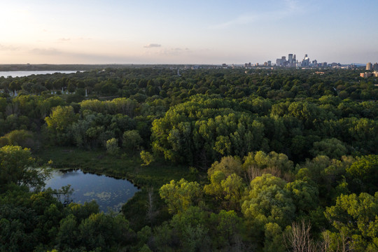 Lyndale Park, Bde Mka Ska and Minneapolis Skyline Drone Aerial
