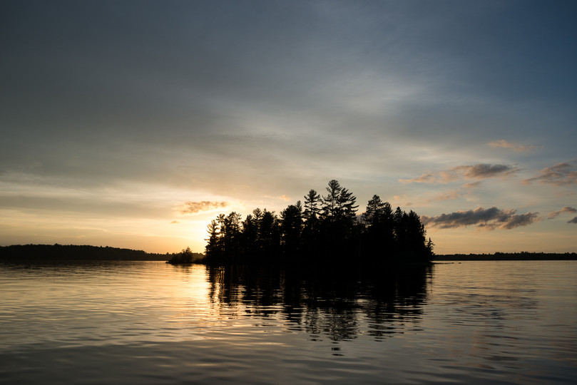 Northwoods Wisconsin Island at Sunset