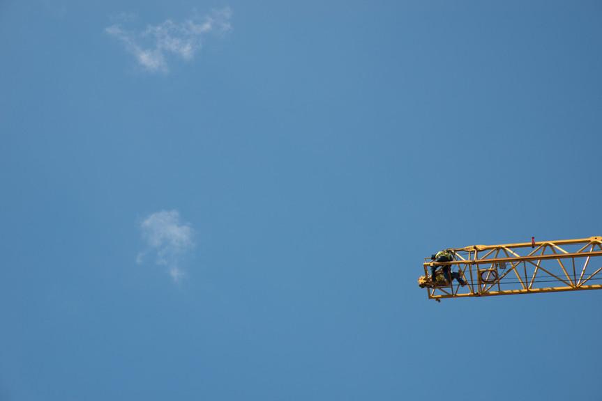 Crane in Minneapolis Against Sky