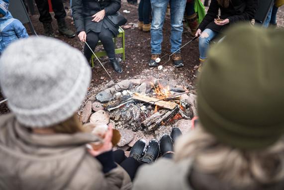 Roasting Marshmallows at Duluth Winter Village