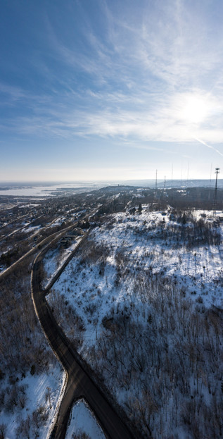 Duluth TV Towers in Winter - Visit Duluth Aerial