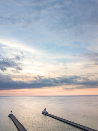 Duluth's Lighthouses at Sunrise from Above