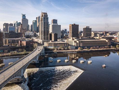 Minneapolis Skyline and St. Anthony Falls Aerial