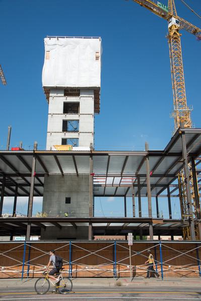 Minneapolis Biker and Wells Fargo Construction