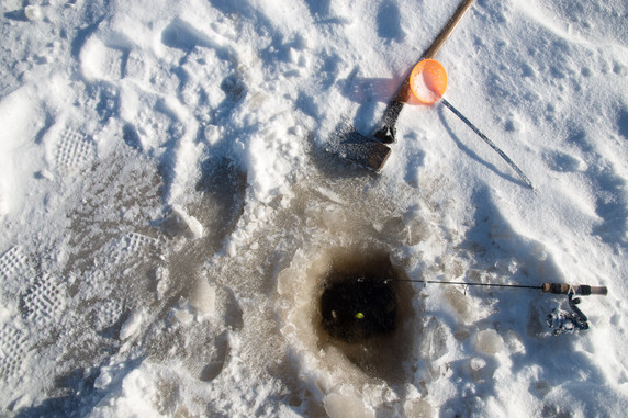 Ice Fishing and an Axe