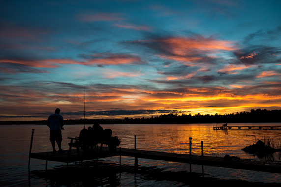 Dock Fishing on the Eagle River-Three Lakes Chain of Lakes
