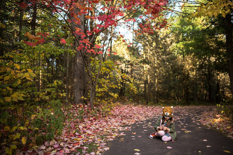 Northwoods Fall and Girl in Tiger Hat
