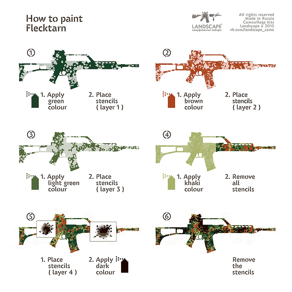 stencils for applying camouflage patterns to competition hunting military firearms or airsoft machine guns assault rifles shotguns carbines rifles