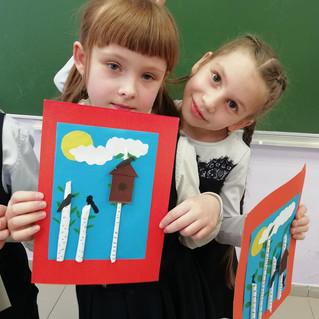 Делаем эскизы скворечников в начальной школе ЮНЭК