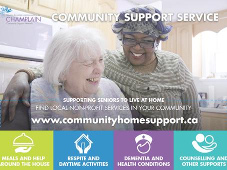 Bilingual Community Support Service eReferral promotional postcard
