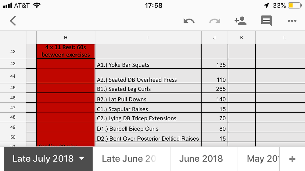working out with heavier weights and smaller sets