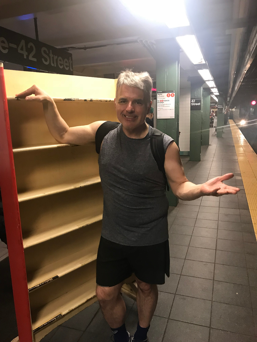 please don't ask why I am moving a vintage bookshelf on the subway