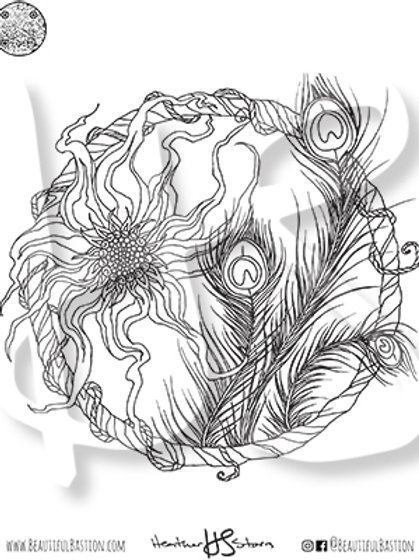 Peacock Feathers 8.5x11 Coloring Page