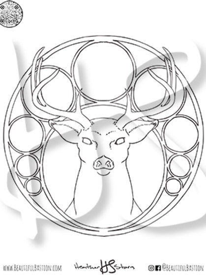 Stag 8.5x11 Coloring Page