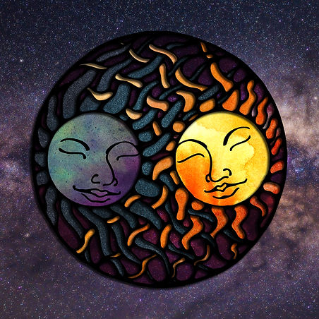 sun and moon with intertwining rays